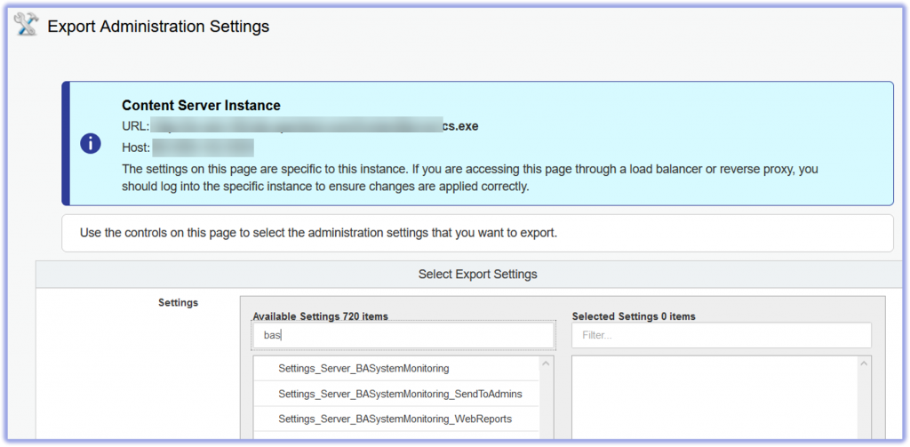Export Admin Settings