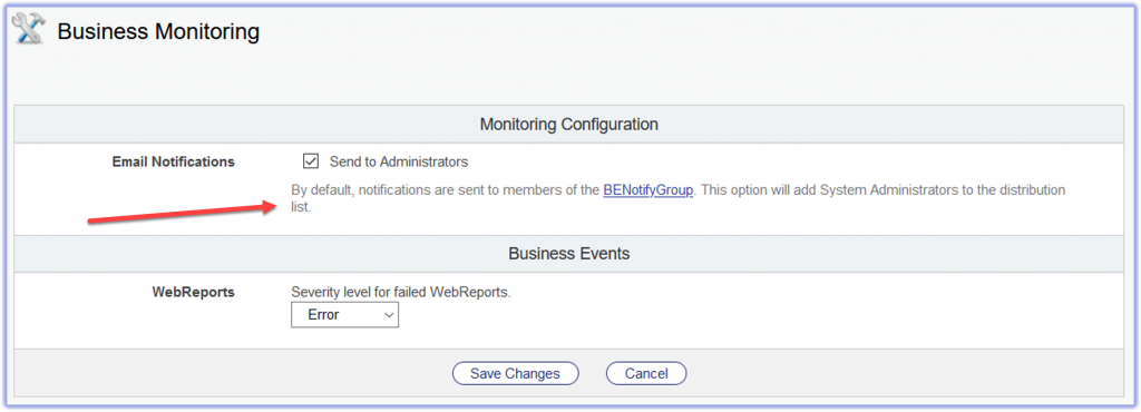 email Notifications in Business Monitoring