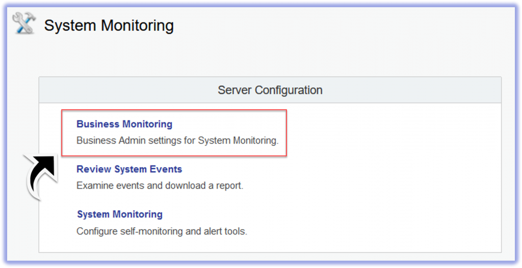 New link in System Monitoring