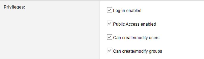 "User privilege ""Lon-in enabled"""