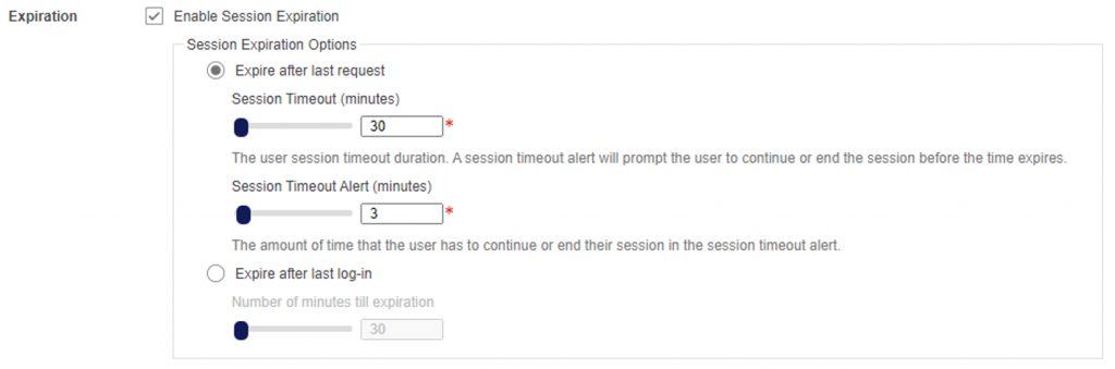 User session management - expiration: New user session options