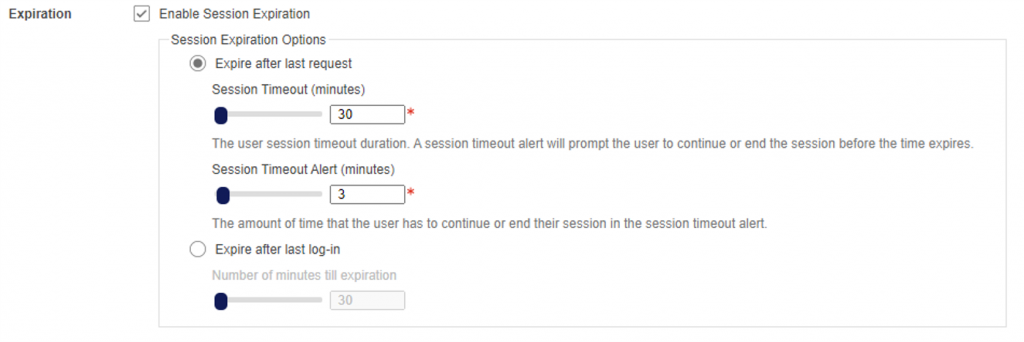 Example of a user session configuration